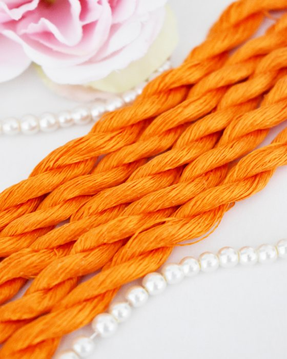 Carrot color Non-Twisted Flat Silk Embroidery Thread