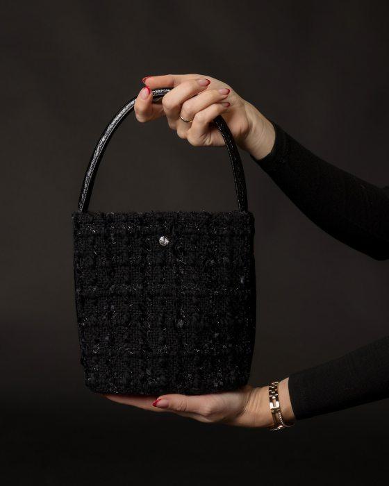 Black color Tweed handbag for woman