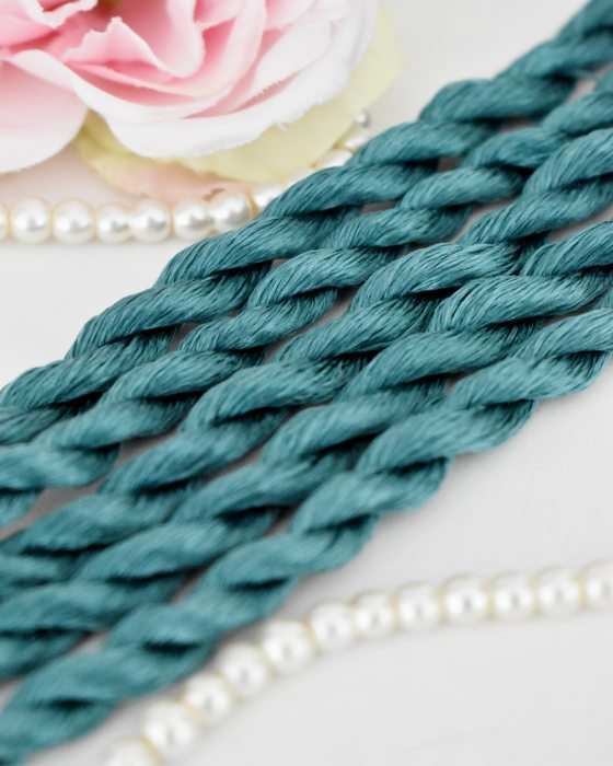 Dark Turquoize color Non-Twisted Flat Silk Embroidery Thread