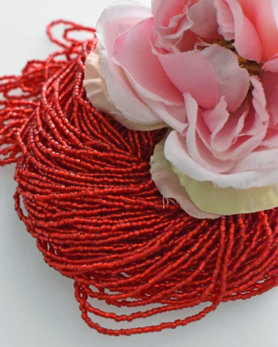 3 x 3 cut Red color Beads