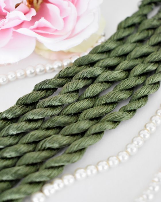 Moss green color Non-Twisted Flat Silk Embroidery Thread