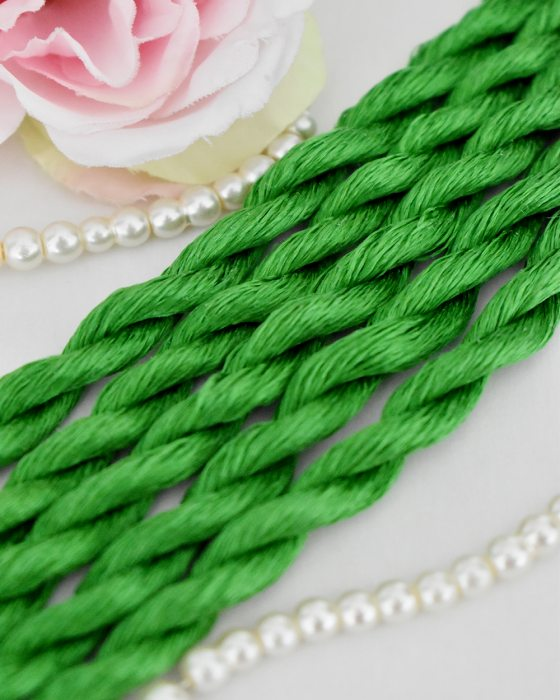 Slimy green color Non-Twisted Flat Silk Embroidery Thread