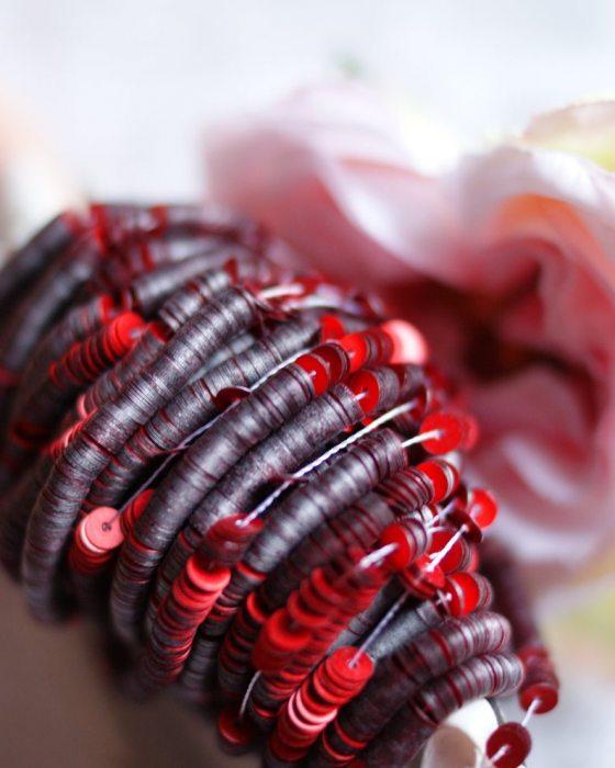 Metallic Mat Red color Sequins Flat 4mm
