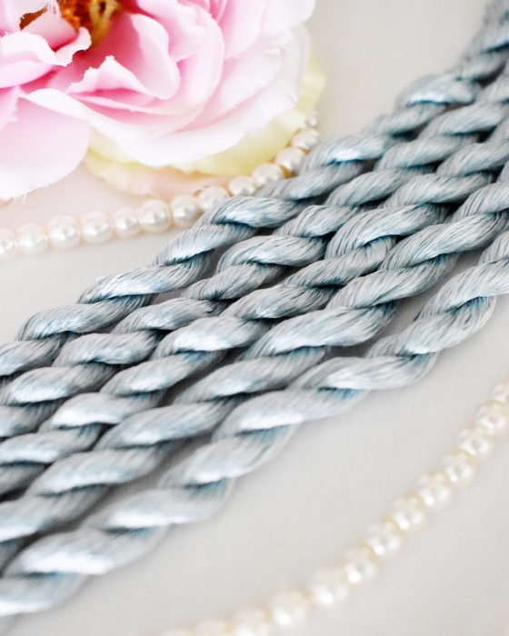 Clear blue color Non-Twisted Flat Silk Embroidery Thread