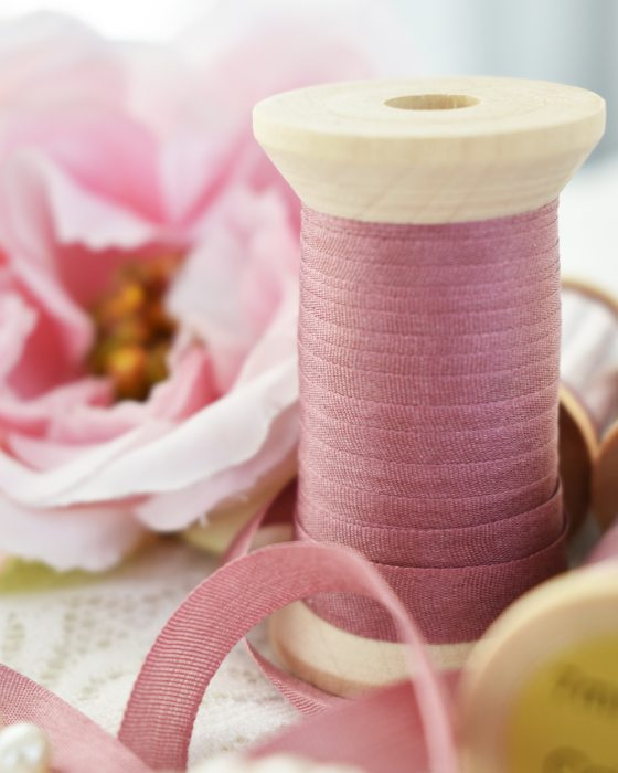 Embroidery Silk Ribbon Old Rose Color 7mm (8038)