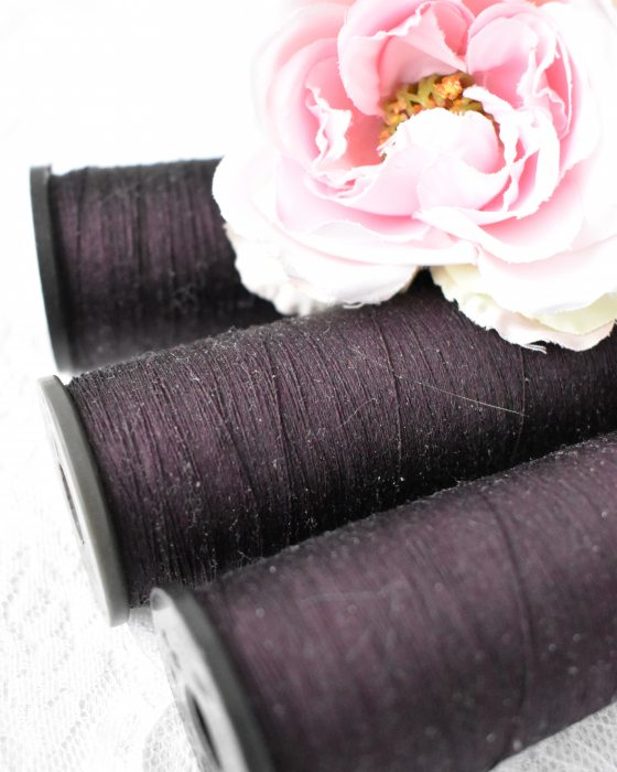 Vintage Pure Silk Thread Dark Purple Color