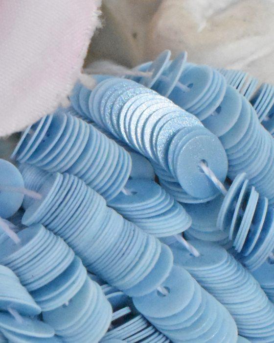 Chantilly Medium Blue color sequins Flat 4mm