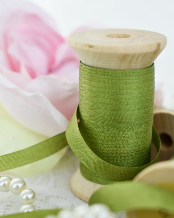 Embroidery Silk Ribbon Green Color 7mm (8065)