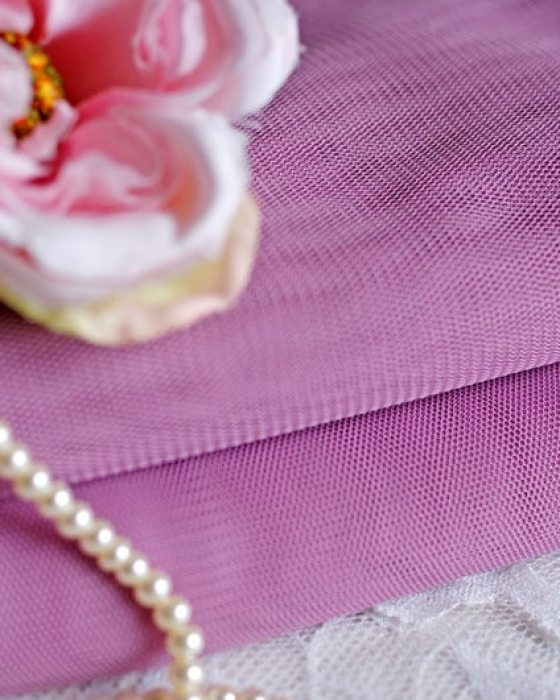 Purple color Italian Tulle Fabric