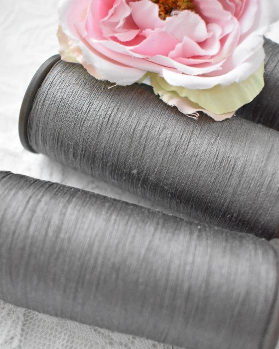 Vintage Pure Silk Thread Metal Grey Color