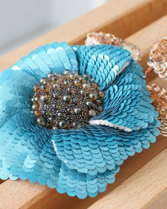 Brooch Blue Flower