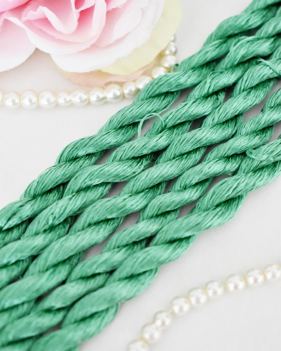 Jade green color Non-Twisted Flat Silk Embroidery Thread