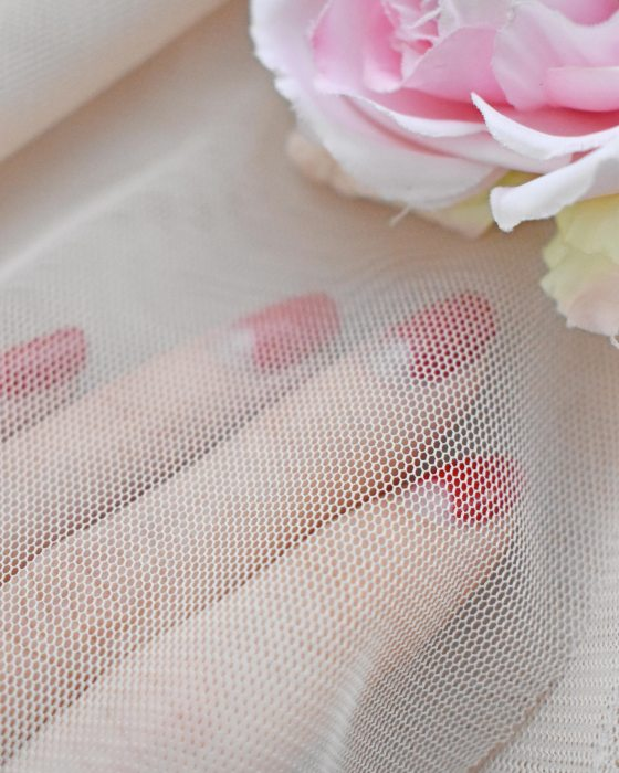 Beige color soft Tulle Fabric