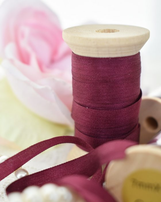 Embroidery Silk Ribbon Burgundy Color 7mm (8042)