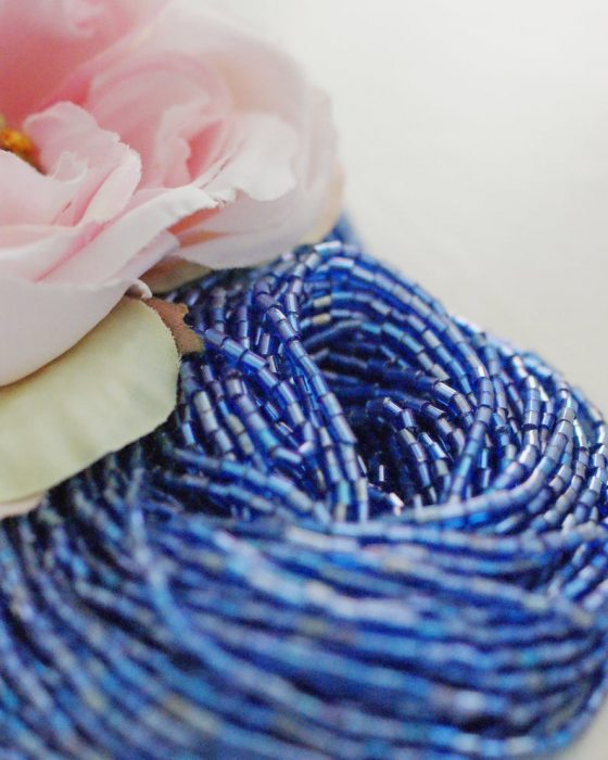 3 x Sapphire Transparent rainbow color bugle beads