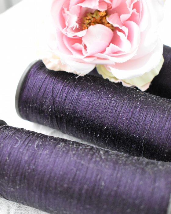 Vintage Pure Silk Thread Dark Amethyst Color