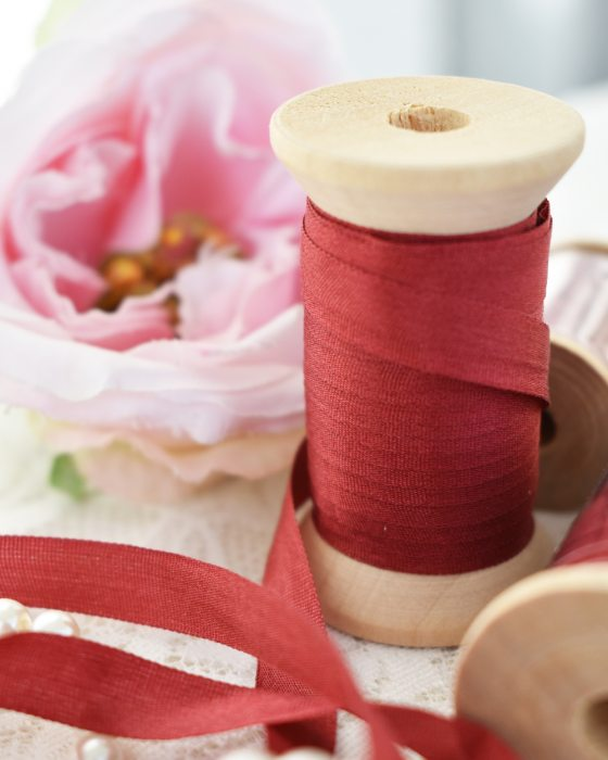 Embroidery Silk Ribbon Red Color 7mm (8087)