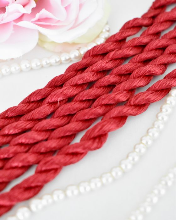 Cherry red color Non-Twisted Flat Silk Embroidery Thread