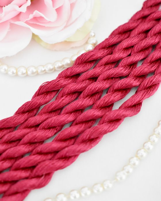 Rose Red color Non-Twisted Flat Silk Embroidery Thread
