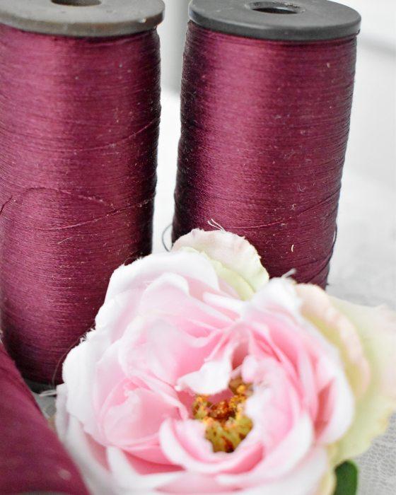 Vintage Pure Silk Thread Bordeaux Color
