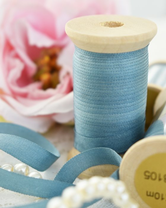 Embroidery Silk Ribbon Blue Color 7mm (8105)