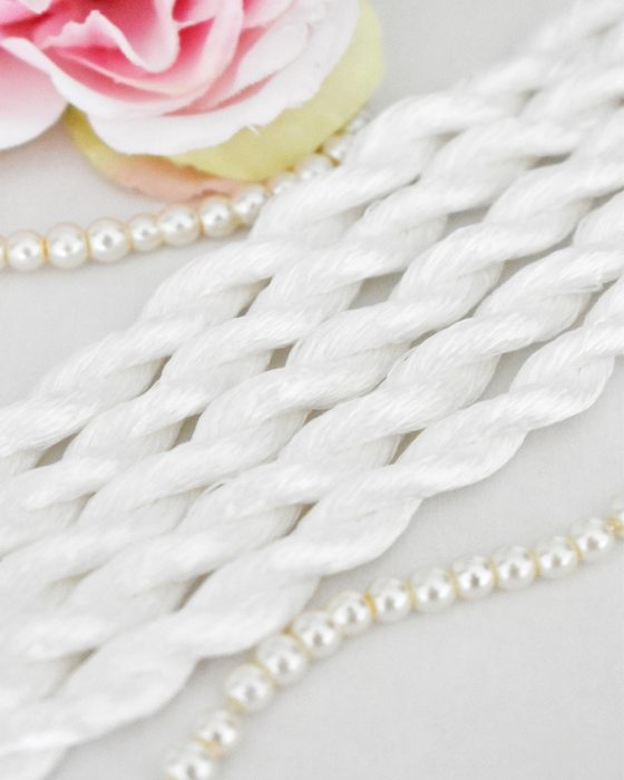 White color Non-Twisted Flat Silk Embroidery Thread