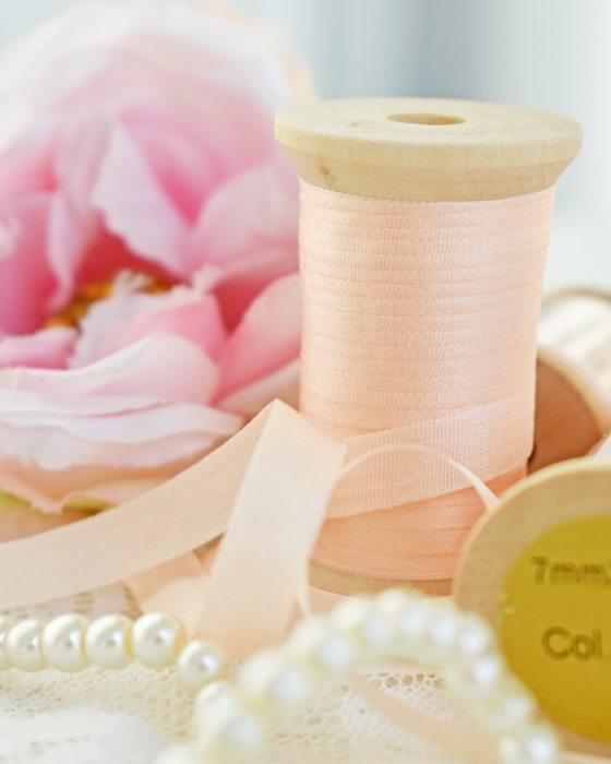 Embroidery Silk Ribbon Peach Color 7mm (8004)
