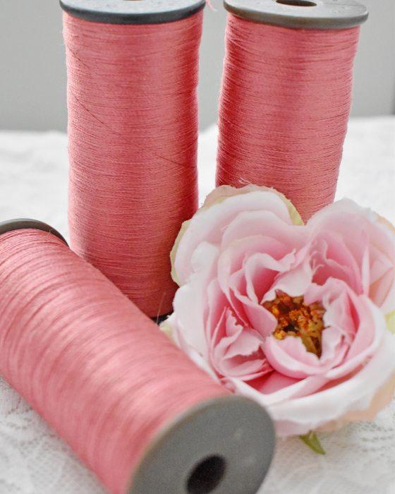 Vintage pure silk thread Coral color