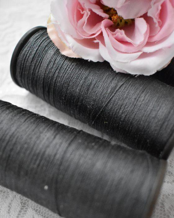 Vintage Pure Silk Thread Hematite Grey Color