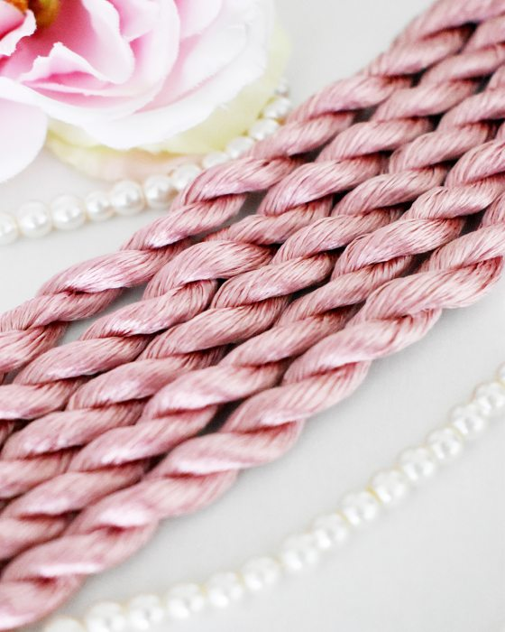 Old rose color Non-Twisted Flat Silk Embroidery Thread