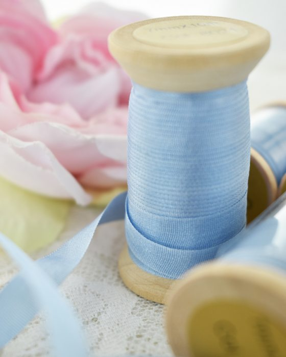 Embroidery Silk Ribbon Blue Color 7mm (8021)
