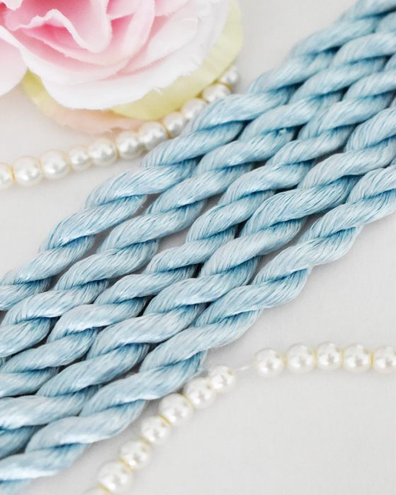 Sky blue color Non-Twisted Flat Silk Embroidery Thread