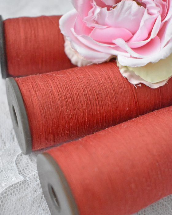Vintage Pure Silk Thread Carrot Red Color