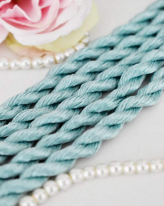 Dark mint color Non-Twisted Flat Silk Embroidery Thread